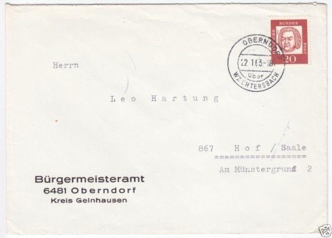 Landpoststempel, Poststelle I, Oberndorf über Wächtersbach, 22.1.63