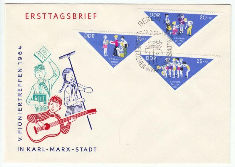 FDC, Mi.-Nr. DDR 1045-47, o SSt, Berlin W 8, 29.7.64