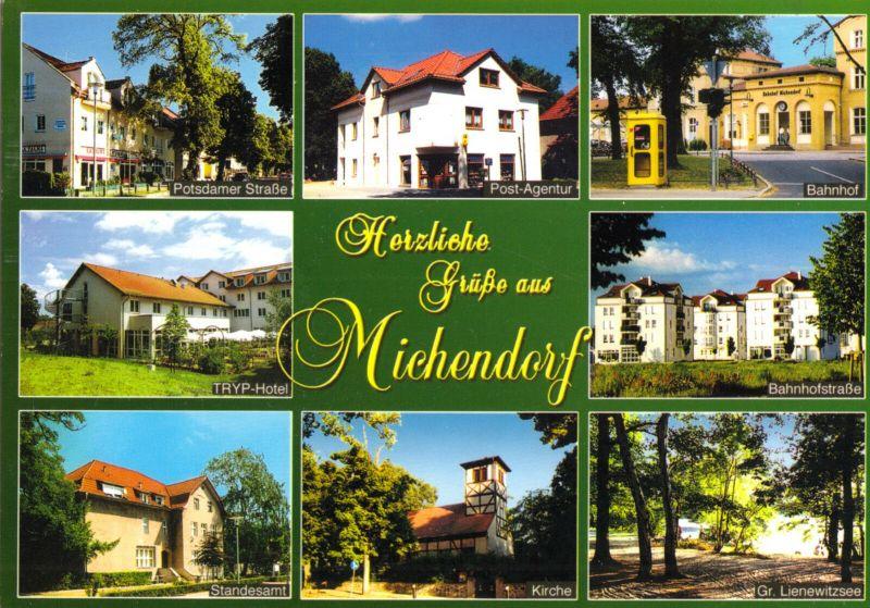 Ansichtskarte, Michendorf Kr. Potsdam, acht Abb., um 2004