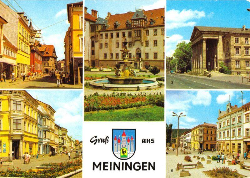 Ansichtskarte, Meiningen, fünf Abb mit Wappen, 1984
