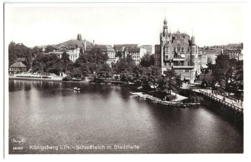 Ansichtskarte, Königsberg i. Pr., Schloßteich mit Stadthalle, um 1940