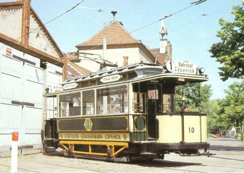 Ansichtskarte, Berlin, Triebwagen 10 der Straßenbahn Köpenick, 1989