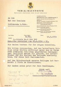 Anschreiben, VEB (K) Baustoffe Dresden, Urlaubsplatz in Gräfenroda, 10.5.54