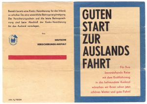 Hinweisblatt zur Kfz-Haftpflichtversicherung bei Auslandsreisen, 1966