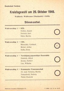 Stimmzettel, Kreistagswahl, Wahlkreis Weißwasser - Görlitz, 20. Oktober 1946