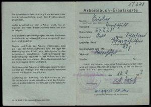 Arbeitsbuch-Ersatzkarte für Pfarrgehilfin, Arbeitsamt Angermünde, 1947