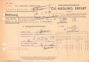 Rechnung, Fa. Ch. Niedling, Erfurt, Bürobedarfshaus, 17.1.1951