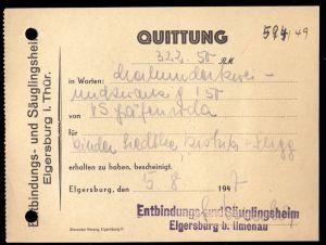 Quittung, Entbindungs- und Säuglingsheim Elgersburg i. Thür., 5.8.47