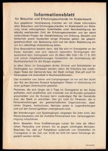 Informationsblatt für Besucher und Erholungssuchende im Küstenbezirk, 1984