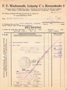 Rechnung, Fa. F. E. Wachsmuth, Schulbildverlag, Leipzig, 24.4.36