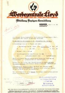 Anschreiben, Werbungszentrale Lloyd, Bremen, 1.9.1930
