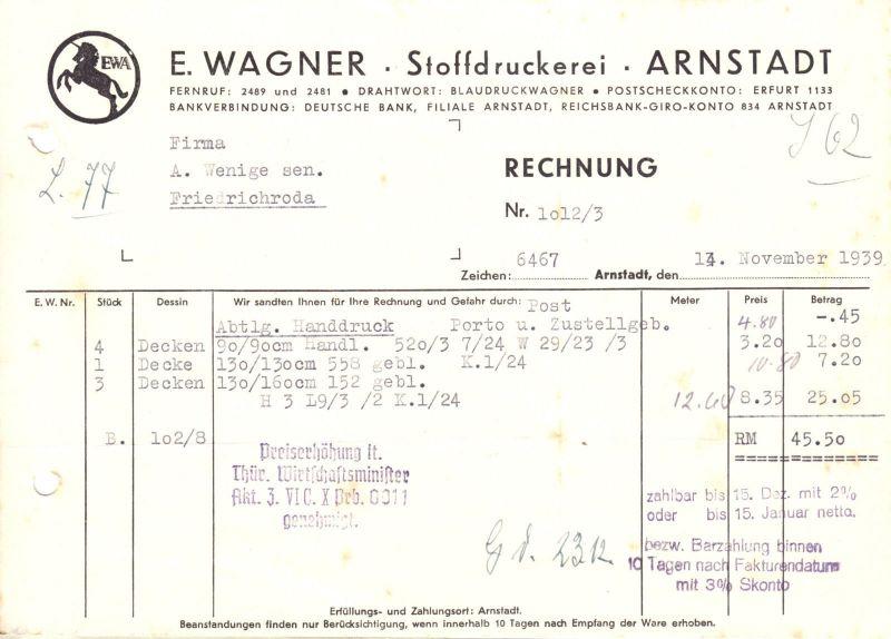 Rechnung, Fa. E. Wagner, Stoffdruckerei, Arnstadt, 1939