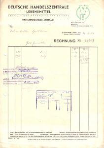 Rechnung, Deutsche Handelszentrale Lebensmittel, Zwst. Arnstadt, 30.10.52