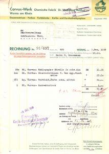 Rechnung, Corvus-Werk, Chemische Fabrik Dr. Wolfgang Holthof, Worms, 3.12.38