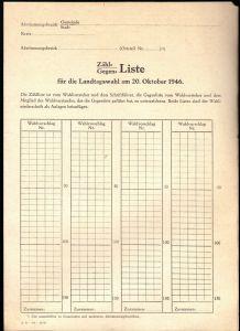 Zählliste für die Landtagswahl am 20. Oktober 1946, blanko
