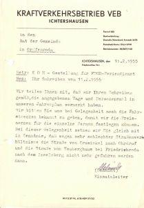 Anschreiben, VEB Kraftverkehrsbetrieb Ichtershausen, KOM für Feriendienst 1955