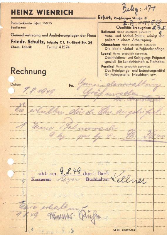 Rechnung, Fa. Heinz Wienrich, Erfurt, 1.8.1949
