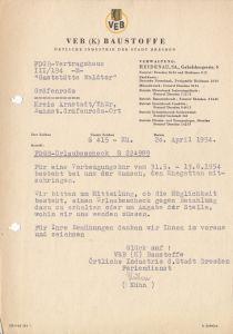 Anschreiben, VEB (K) Baustoffe Dresden bzgl. FDGB-Urlaub, 20. April 1954