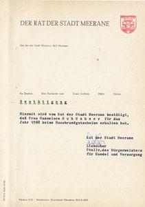 Anschreiben, Rat der Stadt Meerane, Hausbrandgutscheine, 1988
