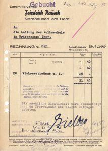Rechnung, Lehrmittelverlag Friedrich Rausch, Nordhausen, 29.7.47