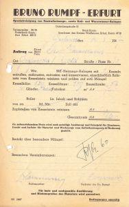 Rechnung, Fa. Bruno Rumpf, Erfurt, Spezialreinigung von Wasseranlagen, 20.3.1947