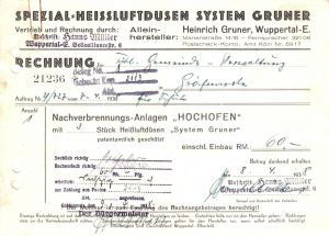 Rechnung, Fa. Heinrich Gruner, Wuppertal-E., Marienstr. 14-16, 8.4.38