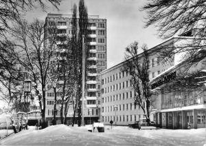 Ansichtskarte, Suhl, Am Interhotel Thüringen Tourist, Winteransicht, 1977