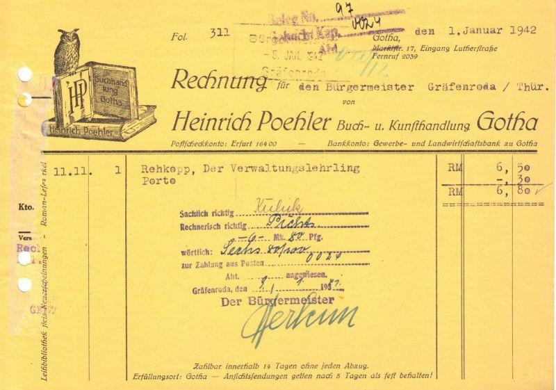 Rechnung, Fa. Heirich Poehler, Buch- und Kunsthandlung Gotha, 1.1.42