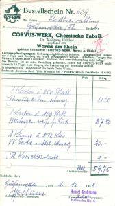 Bestellschein, Corvus-Werk, Chemische Fabrik, Worms am Rhein, 01.12.1938