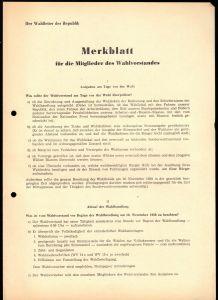 Volkswahl, DDR 1958, Merkblatt für die Mitglieder des Wahlvorstandes