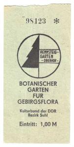 Oberhof Thür. Wald, Eintrittskarte, Rennsteiggarten, 1977