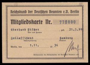 Reichsbund der Deutschen Beamten e.V. Berlin, Mitgliedskarte, 1936