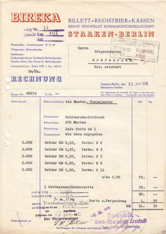 Zwei Rechnungen, Fa. Bireka, Billett-Registrier-Kassen, Berlin Staaken, 1938/40