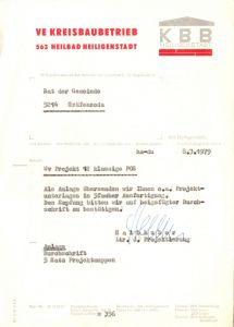 Anschreiben, VE Kreisbaubetrieb Heiligenstadt zu Bauprojekt, 8.3.79