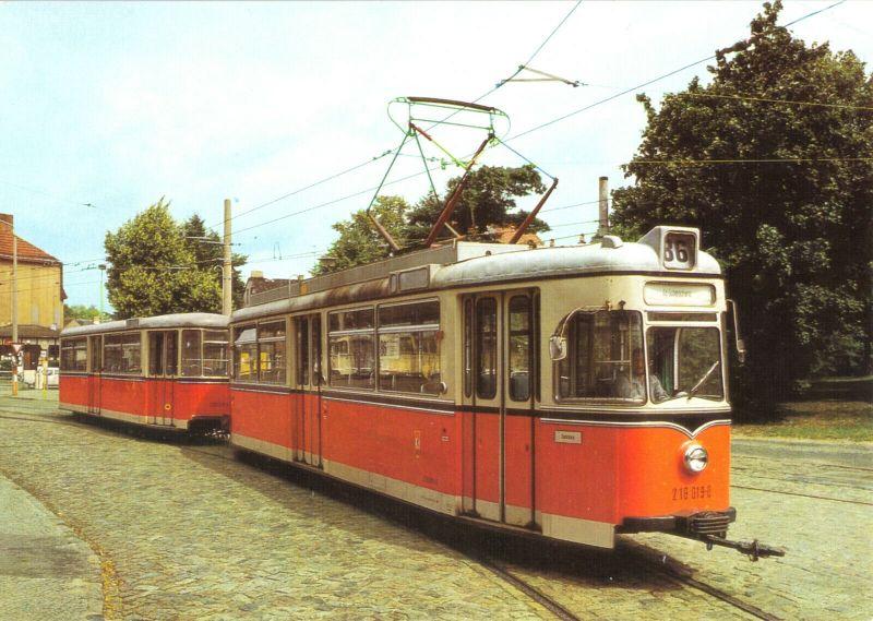 Ansichtskarte, Berlin Köpenick, Straßenbahn, Großraumzug TDE62/BDE62 nach Schmöckwitz, 1987