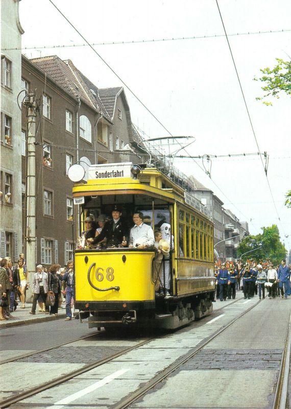Ansichtskarte, Berlin, Straßenbahn, Triebwagen 68 der BVG, Baujahr 1908, 1989