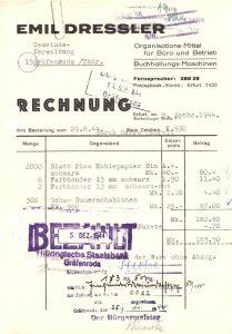 Rechnung, Fa. Emil Dressler, Organisations-Mittel für Büro..., Erfurt, 8.9.1944