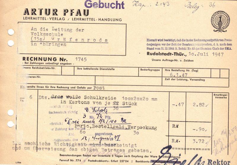 Rechnung, Fa. Artur Pfau, Lehrmittel-Verlag, Rudolstadt, 10.07.1947