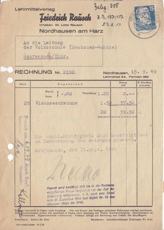 Rechnung, Lehrmittelverlag Friedrich Rausch, Nordhausen, 15.9.1949