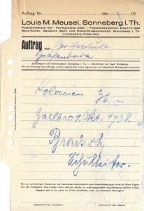Rechnung, Fa. Louis M. Meusel, Sonneberg i. Th., 1938