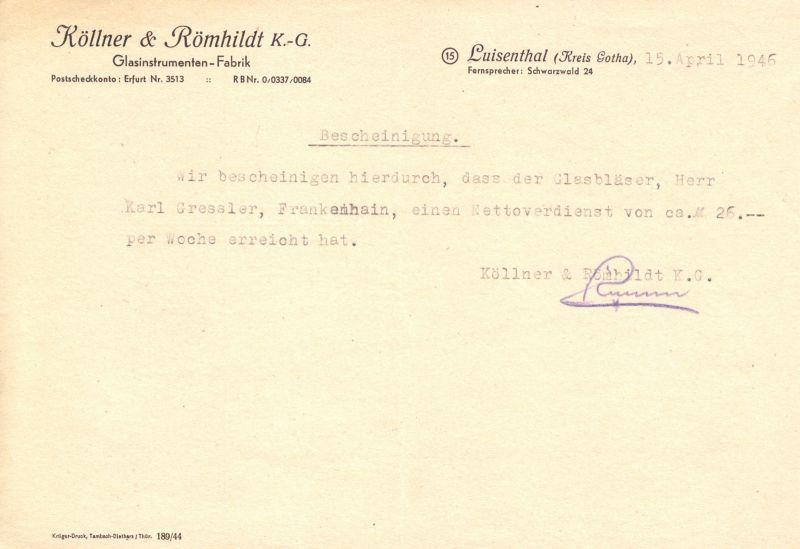 Verdienstbescheinigung, Fa. Köllner & Römhildt KG, Luisenthal, 15.04.1946
