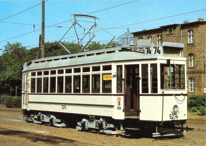 Ansichtskarte, Berlin, Triebwagen 5274 der BVG, Bauart 1907, 1989