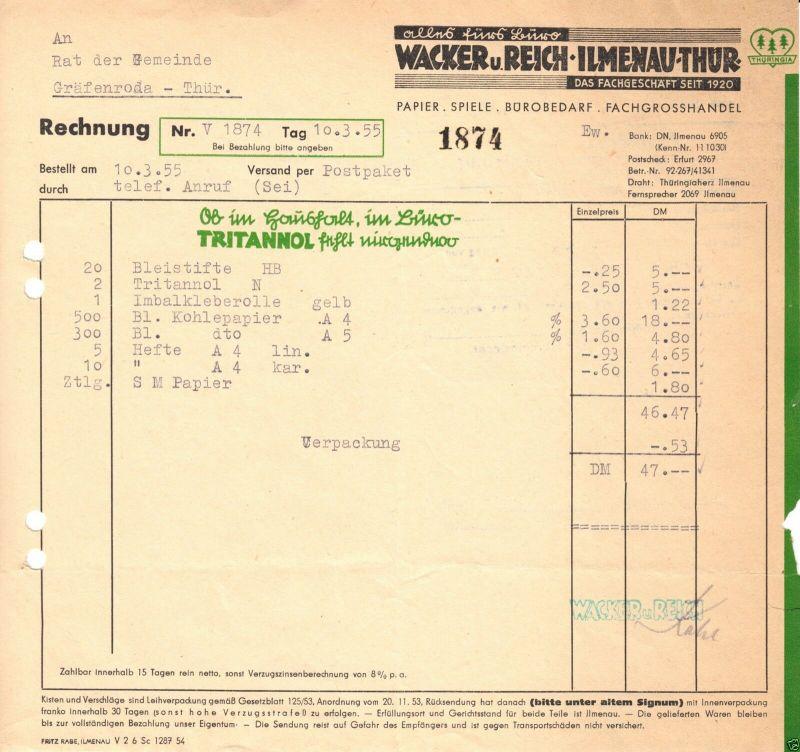 Rechnung, Wacker u. Reich, Ilmenau Thür., Alles fürs Büro, 10.3.55 0