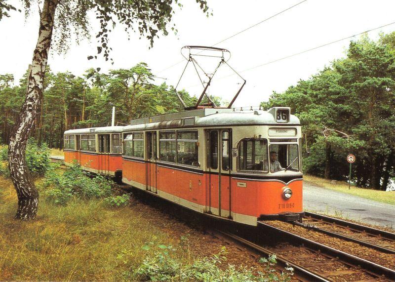 Ansichtskarte, Berlin Köpenick, Straßenbahn, Großraumzug TDE62/BDE62 nach Schmöckwitz, 1989