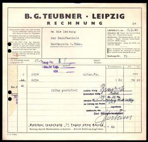 Rechnung, Fa. B. G. Teubner, Leipzig, 7.5.40