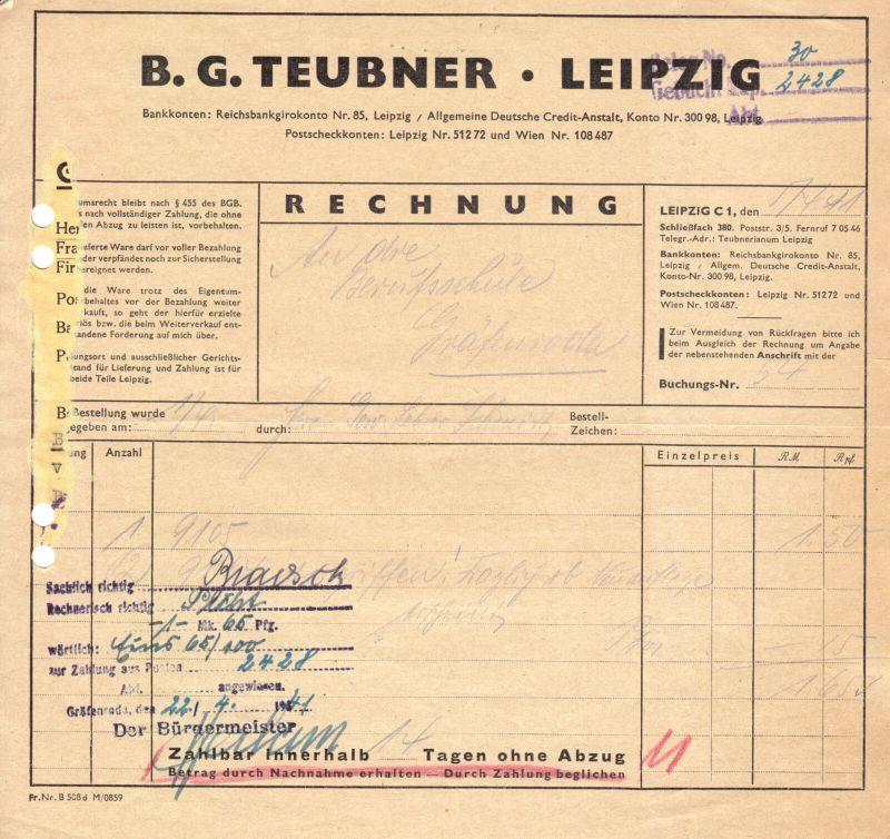 Zwei Rechnungen, B. G. Teubner Verlag, Leipzig, 5.4.41 bzw. 10.4.43