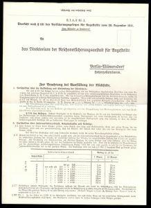 Formular der Reichsversicherungsanstalt für Angestellte aus dem Jahre 1911