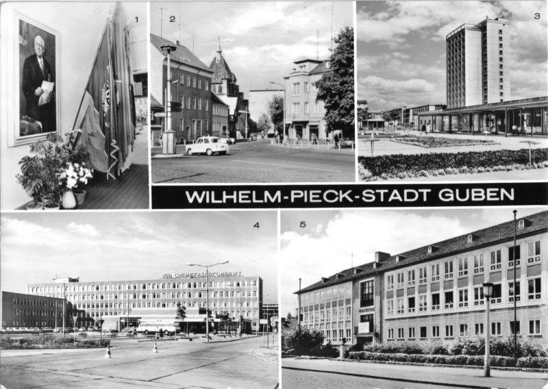 Ansichtskarte, Guben, Wilhelm-Pieck-Stadt Guben, fünf Abb., 1979