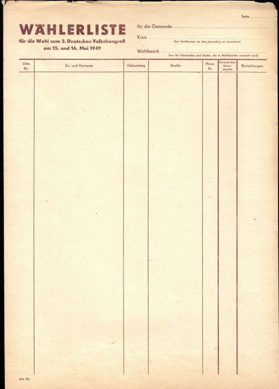 Wählerliste für die Wahl zum dritten Deutschen Volkskongreß 1949, blanko