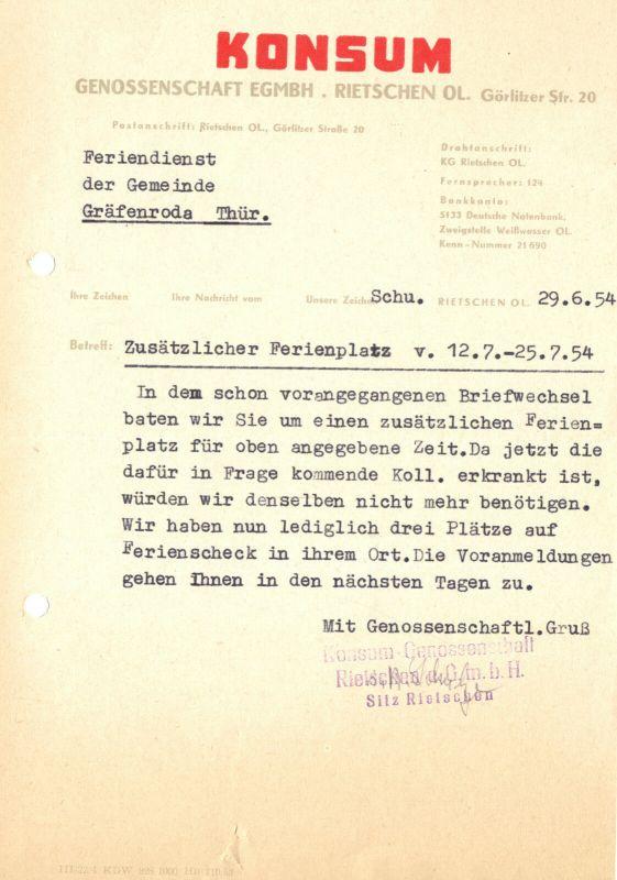 Anschreiben, Konsum Genossenschaft Rietschen OL bzgl Ferienplätzen, 29.6.54